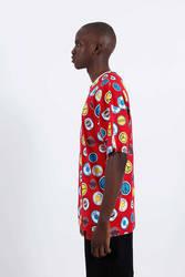 Saw - Button Badges T-Shirt Kırmızı - Thumbnail