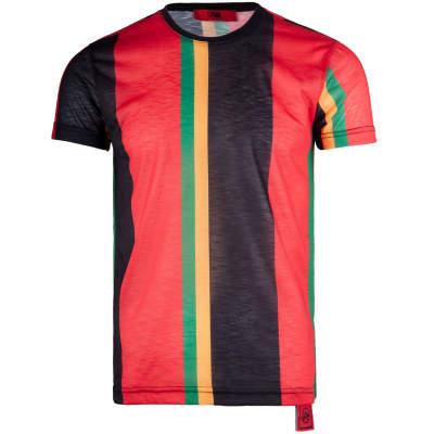 Saw - Stripes Siyah - Kırmızı T-shirt