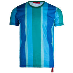Saw - Stripes Yeşil - Mavi T-shirt - Thumbnail