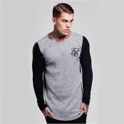 SikSilk - SikSilk - Rib Knit Gri & Siyah Sweatshirt
