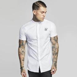 SikSilk - SikSilk - Grandad Collar Shirt Beyaz Gömlek
