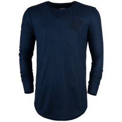 Siksilk - Rib Knit Lacivert Sweatshirt - Thumbnail