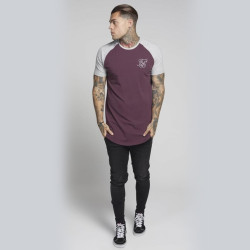 Siksilk - Raglan Bordo & Gri T-shirt - Thumbnail