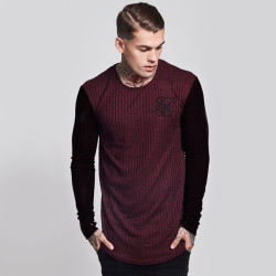 SikSilk - SikSilk - Rib Knit Bordo & Siyah Sweatshirt