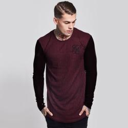 SikSilk - SikSilk - Rib Knit Bordo & Siyah Sweatshirt