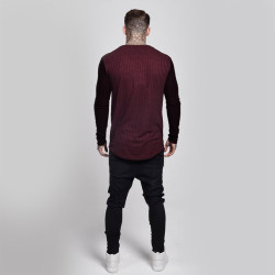SikSilk - Rib Knit Bordo & Siyah Sweatshirt - Thumbnail