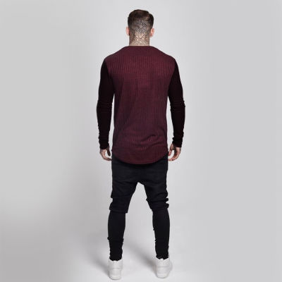 SikSilk - Rib Knit Bordo & Siyah Sweatshirt