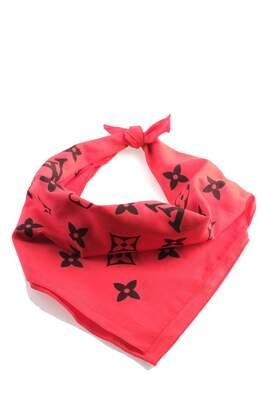- Siyah Çiçek Desenli Kırmızı Bandana