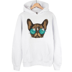 The Street Design - HH - Street Design Sunglasses Dog Beyaz Hoodie