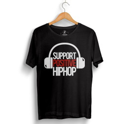 HollyHood - HollyHood - Support Positive HipHop Siyah T-shirt