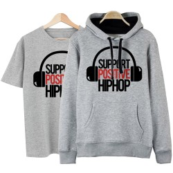 HollyHood - HH - Support Positive HipHop Gri Cepli Hoodie + T-shirt Paketi