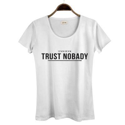 HH - Trust Nobady 2 Kadın Beyaz T-shirt