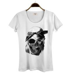Groove Street - HollyHood - Groove Street Tupac Kuru Kafa Kadın Beyaz T-shirt