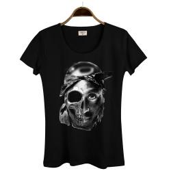 Groove Street - HollyHood - Groove Street Tupac Kuru Kafa Kadın Siyah T-shirt