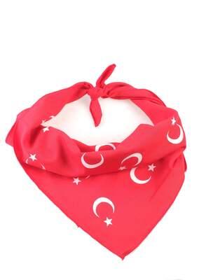HH - Türk Bayrağı Desenli Kırmızı Bandana