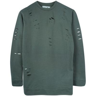 Two Bucks - Distressing Basic Haki Sweatshirt