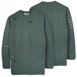 Two Bucks - Distressing Basic Haki Sweatshirt - Thumbnail