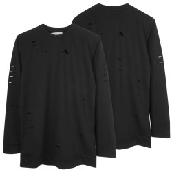 Two Bucks - Distressing Basic Siyah Sweatshirt - Thumbnail