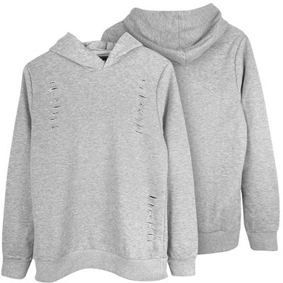 Two Bucks - Distressing Gri Hoodie