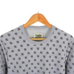Two Bucks - NY Little Logo Gri Sweatshirt - Thumbnail