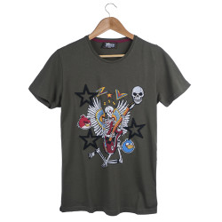 Two Bucks - The Guitarist Skeleton Haki T-shirt - Thumbnail