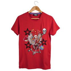 Two Bucks - The Guitarist Skeleton Kırmızı T-shirt - Thumbnail