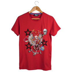 Two Bucks - The Guitarist Skeleton Kırmızı T-shirt - Thumbnail