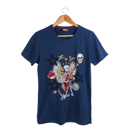 Two Bucks - The Guitarist Skeleton Lacivert T-shirt - Thumbnail