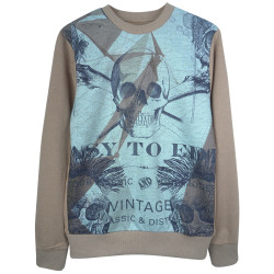 Two Bucks - Vintage Skull Bej Sweatshirt - Thumbnail