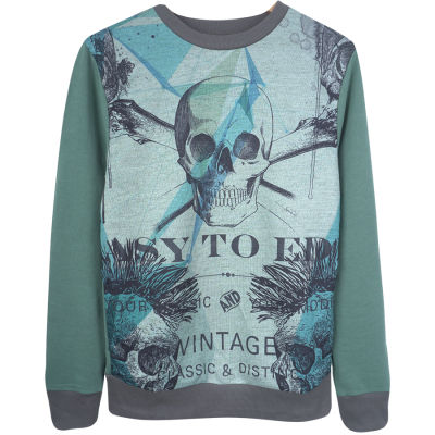Two Bucks - Vintage Skull Yeşil Sweatshirt