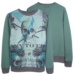 Two Bucks - Vintage Skull Yeşil Sweatshirt - Thumbnail