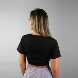 V Dekolte Siyah Crop T-shirt - Thumbnail