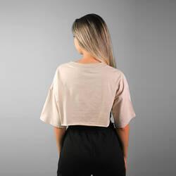 V Yaka Bej Crop T-shirt - Thumbnail