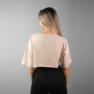 V Yaka Bej Crop T-shirt