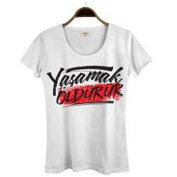 Joker - Hollyhood - Yaşamak Öldürür Kadın Beyaz T-shirt