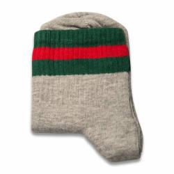 Yeşil Kırmızı Çizgili Gri Çorap - Thumbnail