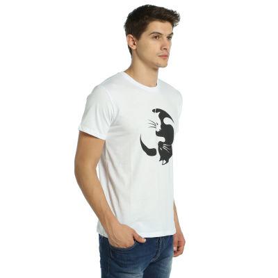 Bant Giyim - Yin Yang Kedi Beyaz T-shirt