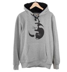 Bant Giyim - Yin Yang Kedi Gri Hoodie - Thumbnail