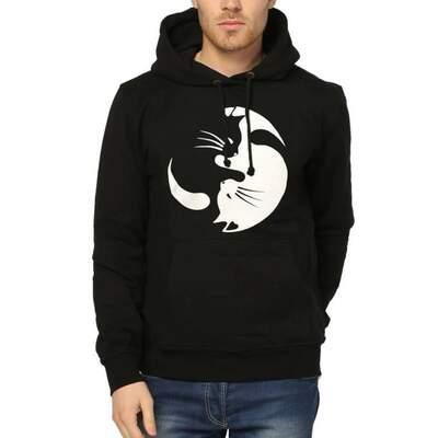 Bant Giyim - Yin Yang Kedi Siyah Kapşonlu Hoodie