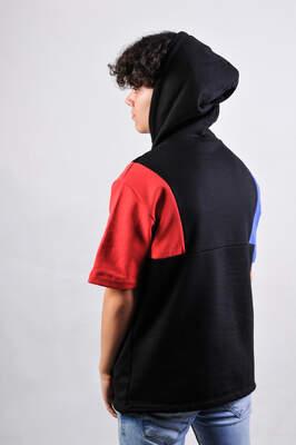 ZD Siyah Kol Mavi Kırmızı Kısa Kollu Hoodie